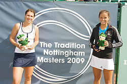 NOTTINGHAM, ENGLAND - Sunday, June 14, 2009: Laura Robson (GBR) and Olga Savchuk (UKR) on finals day of the Tradition Nottingham Masters tennis event at the Nottingham Tennis Centre. (Pic by David Rawcliffe/Propaganda)