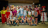The cast for SKYT's (Streetcar Kids Youth Theater) Alice in Wonderland on stage at the Gilford Methodist Church for dress rehearsal on Monday evening.  (Karen Bobotas/for the Laconia Daily Sun)