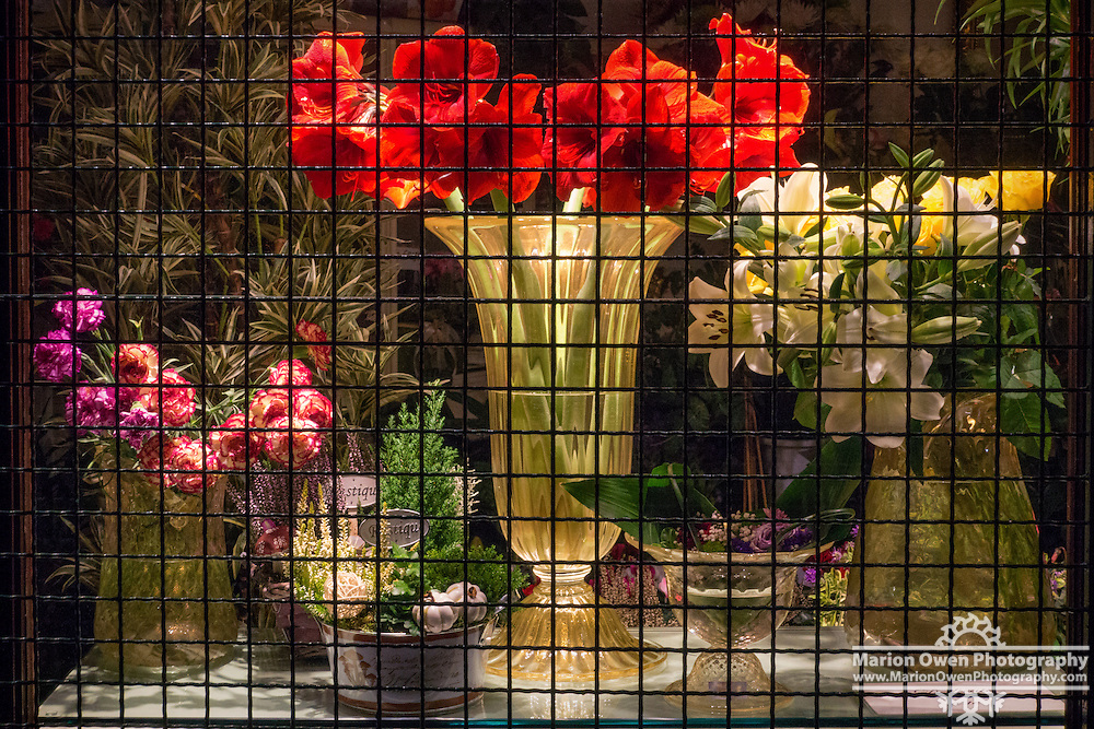 Flower arrangements on display behind black grate in Venice, Italy florist shop.