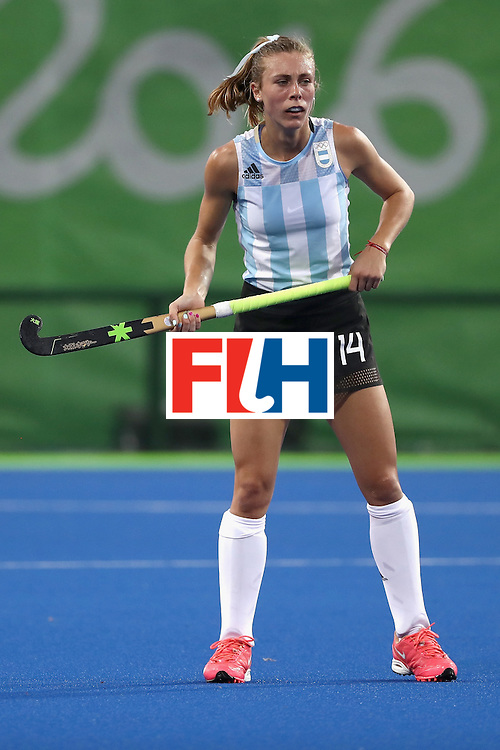 RIO DE JANEIRO, BRAZIL - AUGUST 06:  Agustina Habif #14 of Argentina  stands during a Women's Pool B match between the United States and Argentina on Day 1 of the Rio 2016 Olympic Games at the Olympic Hockey Centre on August 6, 2016 in Rio de Janeiro, Brazil.  (Photo by Sean M. Haffey/Getty Images)