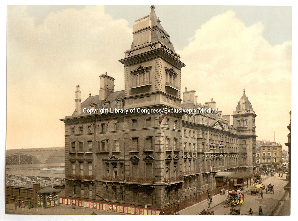 Stunning Old photochrome prints turn back the clock in London <br /> <br /> colourised postcards from the Victorian era,  postcards were made using photochrom - a method of producing colourised photos from negatives<br /> <br /> Photo shows: Great Western Hotel Paddington, London, England, between 1890 and 1900<br /> ©Library of Congress/Exclusivepix Media
