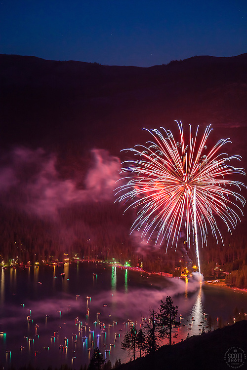 """""""Fireworks at Donner Lake"""" - This fireworks display at the West end of Donner Lake was photographed from a mountainside on July 4th."""