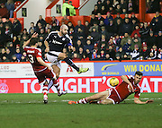 Aberdeen&rsquo;s Andrew Considine tries to block Dundee&rsquo;s Gary Harkins' shot - Aberdeen v Dundee, Ladbrokes Premiership at Pittodrie<br /> <br />  - &copy; David Young - www.davidyoungphoto.co.uk - email: davidyoungphoto@gmail.com