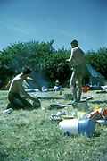 Helping and not helping camping, Waldron Surrey, UK, 1966
