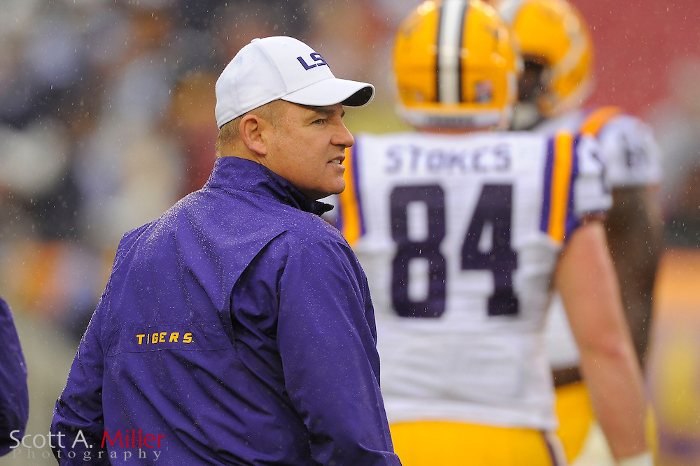 LSU Tigers head coach Les Miles prior to the 2014 Outback Bowl at Raymond James Stadium on Jan. 1, 2014 in Tampa, Florida. <br /> <br /> &copy;2014 Scott A. Miller
