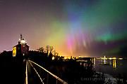 Marquette lighthouse and rare blue aurora