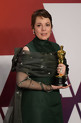 "Olivia Colman, winner of the Best Actress In A Leading Role Award for ""The Favourite"" at the 91st Annual Academy Awards (Oscars) presented by the Academy of Motion Picture Arts and Sciences.<br /> (Hollywood, CA, USA)"