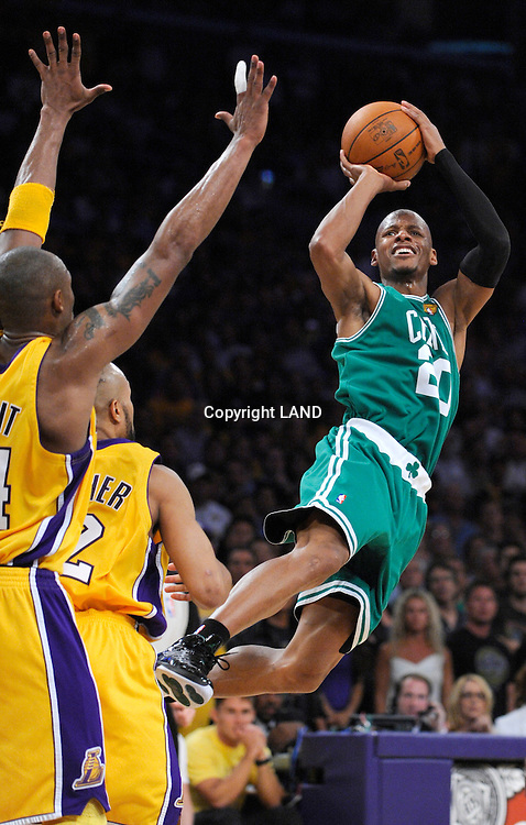 Ray Allen falls back to create some space for a perimiter jump shot against Derek Fisher in the 3rd quarter. The Lakers defeated the Boston Celtics in game 7 of the NBA Finals  83-79 in Los Angeles, CA 06/16/2010 (John McCoy/Staff Photographer).