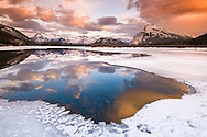 Canadian Rockies refleted in Vermillion Lakes. Banff, Canada.