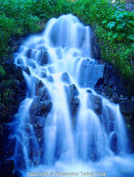 USA; California; Sierra Nevada Mountains.  A small waterfall in Red's Meadow