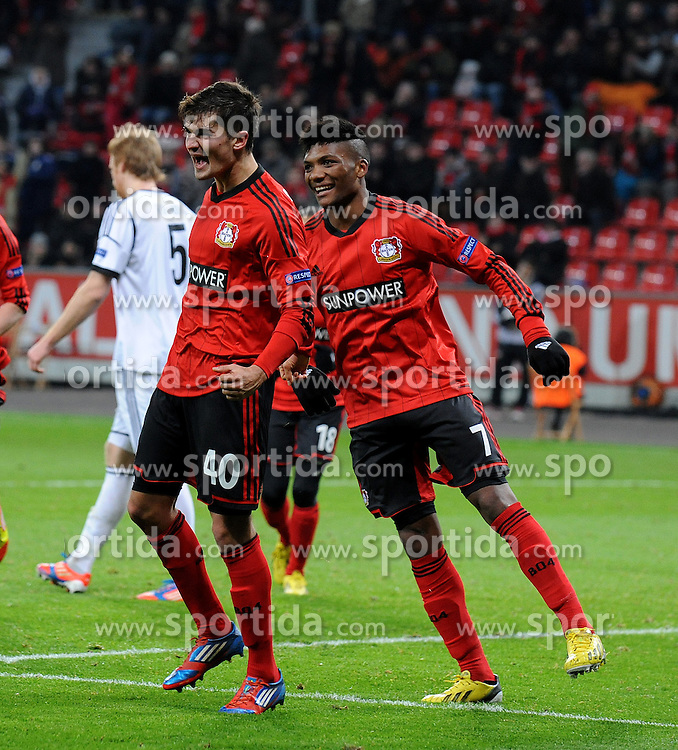 06.12.2012, BayArena, Leverkusen, GER, UEFA EL,Bayer Leverkusen vs Rosenborg Trondheim, Gruppe K, im Bild V.l.n.r. Torschuetze Julian Riedel jubelt mit Junior Fernandes ( beide Bayer 04 Leverkusen/ Action/ Aktion ) ueber das 1 : 0 // during UEFA Europa League group K match between Leverkusen and Rosenborg Trondheim at the BayArena, Leverkusen, Germany on 2012/12/06. EXPA Pictures © 2012, PhotoCredit: EXPA/ Eibner/ Thomas Thienel..***** ATTENTION - OUT OF GER *****