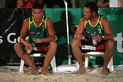 Saso Rop and Matevz Berk (Tadeja Brankovic Sport Team) at qualifications for 14th National Championship of Slovenia in Beach Volleyball and also 4th tournament of series TUSMOBIL LG presented by Nestea, on July 25, 2008, in Kranj, Slovenija. (Photo by Vid Ponikvar / Sportal Images)/ Sportida)