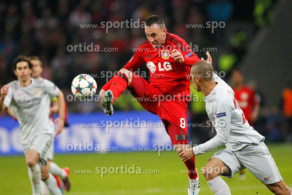 25.02.2015, BayArena, Leverkusen, GER, UEFA CL, Bayer 04 Leverkusen vs Atletico Madrid, Achtelfinale, Hinspiel, im Bild Josip Drmic (Bayer 04 Leverkusen #9) mit der Vorlage zum Tor durch Hakan Calhanoglu (Bayer 04 Leverkusen #10 - nicht im Bild) // during the UEFA Champions League Round of 16, 1st Leg match between between Bayer 04 Leverkusen and Club Atletico de Madrid at the BayArena in Leverkusen, Germany on 2015/02/25. EXPA Pictures &copy; 2015, PhotoCredit: EXPA/ Eibner-Pressefoto/ Schueler<br /> <br /> *****ATTENTION - OUT of GER*****