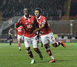 Bristol City's Kieran Agard celebrates his goal with Bristol City's Korey Smith - Photo mandatory by-line: Dougie Allward/JMP - Mobile: 07966 386802 - 17/02/2015 - SPORT - Football - Bristol - Ashton Gate - Bristol City v Peterborough United - Sky Bet League One