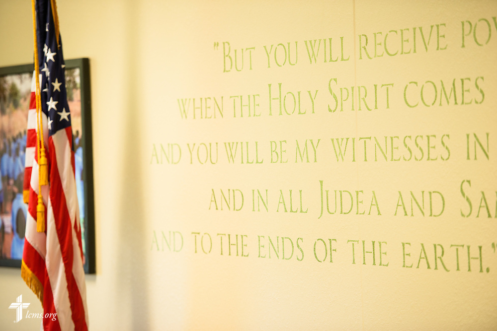 Painted scripture verses on the wall in the fellowship hall of  Mission Central on Saturday, July 18, 2015, in Mapleton, Iowa. LCMS Communications/Erik M. Lunsford