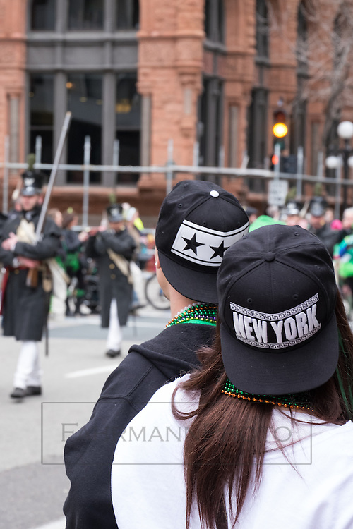 Happenings at the St. Paul St. Patricks Day Parade in 2016 included marching reinactors from Fort Snelling