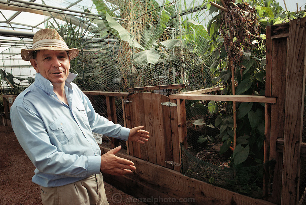 USA_SCI_BIOSPH_86_xs <br /> Biosphere 2 Project founder John Allen inside Biosphere 2 teat greenhouses and livestock areas. Biosphere 2 was a privately funded experiment, designed to investigate the way in which humans interact with a small self-sufficient ecological environment, and to look at possibilities for future planetary colonization. The $30 million Biosphere covers 2.5 acres near Tucson, Arizona, and was entirely self- contained. The eight 'Biospherian's' shared their air- and water-tight world with 3,800 species of plant and animal life. The project had problems with oxygen levels and food supply, and has been criticized over its scientific validity. 1990