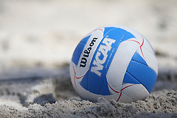 April 7, 2018 - Tucson, AZ, U.S. - TUCSON, AZ - APRIL 07: Volleyball during a college beach volleyball match between the Colorado Mesa Mavericks and the Arizona Wildcats on April 07, 2018, at Bear Down Beach in Tucson, AZ. Arizona defeated Colorado Mesa 4-1. (Photo by Jacob Snow/Icon Sportswire (Credit Image: © Jacob Snow/Icon SMI via ZUMA Press)