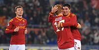 esultanza Riise e pizarro dopo il gol (Roma)<br /> Roma vs Palermo<br /> Campionato calcio Serie A<br /> Stadio Olimpico, Roma, 13/02/2010<br /> Photo Antonietta Baldassarre Insidefoto