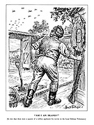 """""""Am I an Island?"""" [In two days there were a quarter of a million applicants for service in the Local Defence Volunteers.] (John Bull looks up to the skies and seeing enemy planes overhead leaves his shovel and reaches for his rifle)"""