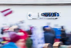 21.02.2016, Olympiaeisbahn Igls, Innsbruck, AUT, FIBT WM, Bob und Skeleton, Herren, Viererbob, 3. Lauf, im Bild Nikita Zakharov, Petr Moiseev, Yury Selikhov, Kirill Antukh Yury Selikhov, Kirill Antukh (RUS) // Nikita Zakharov Petr Moiseev Yury Selikhov Kirill Antukh Yury Selikhov Kirill Antukh of Russian Federation compete during Four-Man Bobsleigh 3rd run of FIBT Bobsleigh and Skeleton World Championships at the Olympiaeisbahn Igls in Innsbruck, Austria on 2016/02/21. EXPA Pictures © 2016, PhotoCredit: EXPA/ Johann Groder