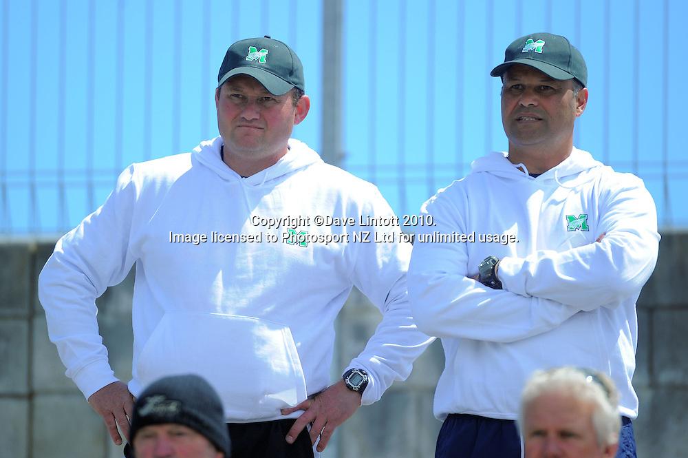 Marist coaches Karl Hoskin (left) and Daryl Suasua. NZ Heartland XV v NZ Marist XV at Spriggens Park, Wanganui, New Zealand on Saturday, 6 November 2010. Photo: Dave Lintott / photosport.co.nz