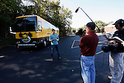 CINCINNATI, OH - OCTOBER 5:  Nick Lachey films an introduction outside the tour bus he will be traveling in during the kickoff to The Everybody Wins Tour at Freestore Foodbank on October 5, 2009 in Cincinnati, Ohio. (Photo by Joe Robbins/WireImage for Foodbank)