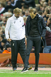 14.04.2016, Anfield Road, Liverpool, ENG, UEFA EL, FC Liverpool vs Borussia Dortmund, Viertelfinale, Rueckspiel, im Bild -Trainer Juergen Klopp (FC Liverpool) und Trainer Thomas Tuchel (Borussia Dortmund) // during the UEFA Europa League Quaterfinal, 2nd Leg match between FC Liverpool vs Borussia Dortmund at the Anfield Road in Liverpool, Great Britain on 2016/04/14. EXPA Pictures &copy; 2016, PhotoCredit: EXPA/ Eibner-Pressefoto/ Schueler<br /> <br /> *****ATTENTION - OUT of GER*****