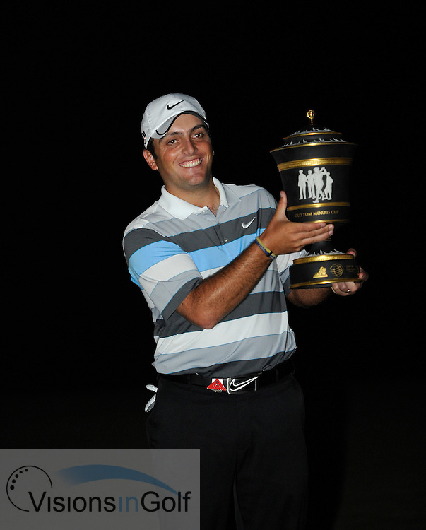Francesco Molinari after winning with the trophy at the HSBC Champions, Sheshan Golf Club, Shanghai, China 2010<br /> Mandatory credit: Richard Castka / visionsingolf.com