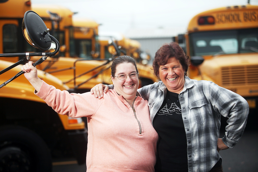 Albany bus driver Helen Jacobs, left, with fellow driver Bonnie Brown, is one of a group of classified employees and OEA members organizing a campaign around living wage issues. Photographed by Thomas Patterson on Tuesday, Dec. 7, 2010.