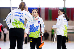 Ana Smolej, Nika Cerne and Nika Svetina during curling match between National teams of Slovenia and Lithuania in 6th Round of European Curling Championship on April 29, 2016 in Ledena dvorana Zalog, Ljubljana, Slovenia. Photo By Urban Urbanc / Sportida