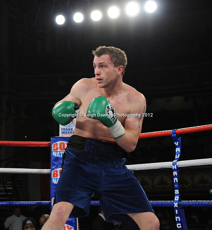 Joe Selkirk  defeats Ryan Toms (pictured) in a 8x3min Light Middleweight contest at Olympia, Liverpool on the 20th January 2012. Vaughan Boxing Promotions. © Leigh Dawney Photography 2012.