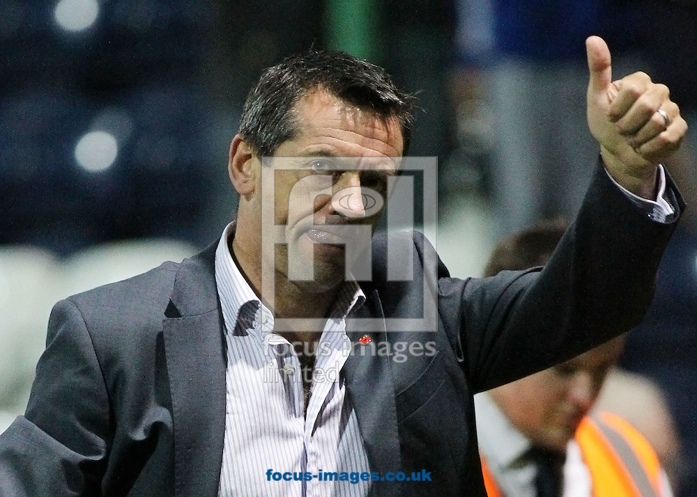Picture by MIchael Sedgwick/Focus Images Ltd. 07900 363072.12/11/11.Phil Brown, manager of Preston salutes the crowd after the FA Cup first round match against Southend at the Deepdale stadium, Preston.