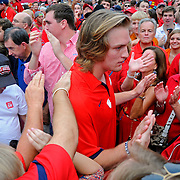 Mississippi quarterback Bo Wallace walks The Walk of Champions before an NCAA college football game in Oxford, Miss., Saturday, Sept. 15, 2012. (Photo/Thomas Graning)