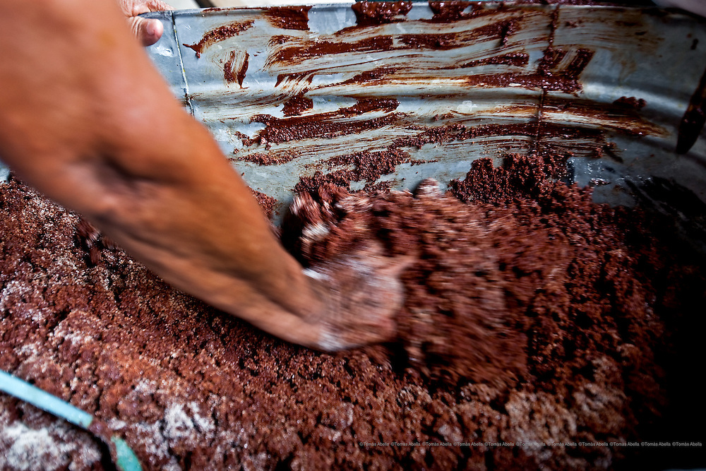 Making home-made chocolate. Tapachula, Mexico.