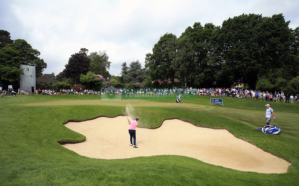 England's Luke Donald plays out of the bunker on the third hole during day three of the 2017 BMW PGA Championship at Wentworth Golf Club, Surrey.