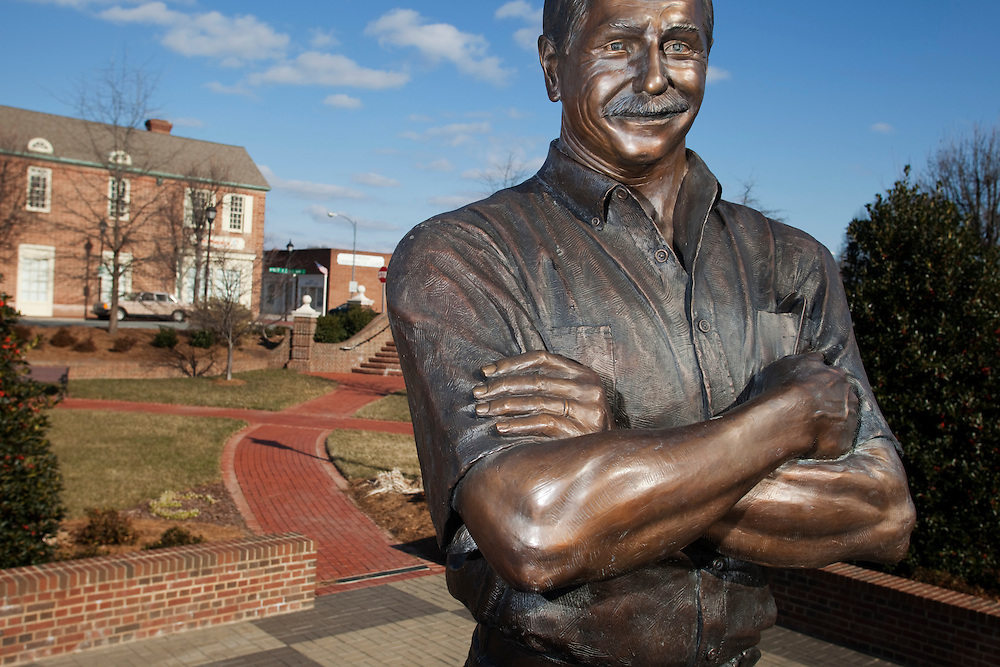A nine-foot, 900-pound bronze statue of Dale Earnhardt stands in the plaza of his hometown in Kannapolis, N.C.  The statue faces south, so the sun always shines on his face.