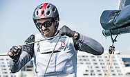 Alinghi Extreme sailing team in action during a training session. Dubai. UAE. Co skipper and helm, Arnaud Parofaghis (SUI), bowman Yves Detrey (SUI) , trimmer Nils Frie (SUI), tactician Nicholas Charbonnier (FRA)<br /> Credit Lloyd Images
