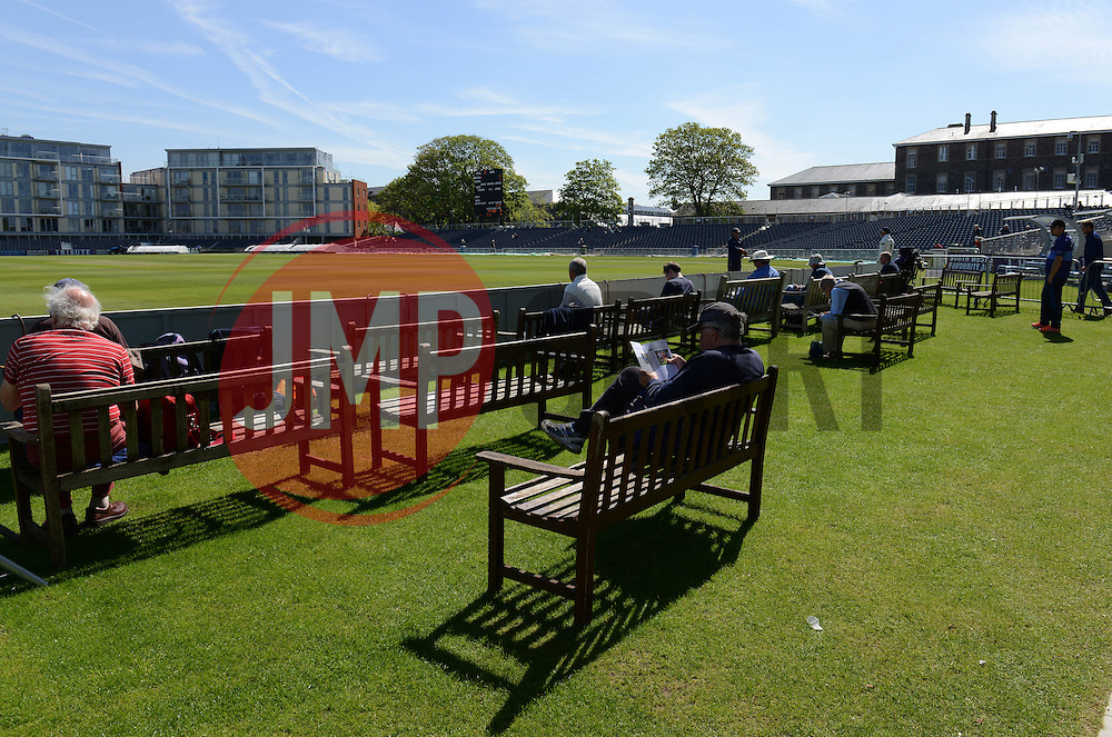 Fans await play at the County Cricket ground - Photo mandatory by-line: Dougie Allward/JMP - Mobile: 07966 386802 - 21/05/2015 - SPORT - Cricket - Bristol - County Ground - Gloucestershire v Kent - LV=County Cricket