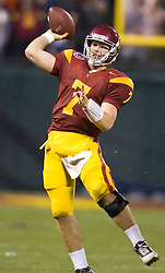 Dec 26, 2009; San Francisco, CA, USA;  Southern California Trojans quarterback Matt Barkley (7) during the third quarter against the Boston College Eagles in the 2009 Emerald Bowl at AT&T Park.  USC defeated BC 24-13.