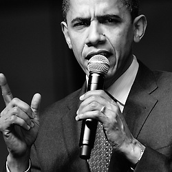 Barack Obama speaks to a crowd of supporters during a 2008  Presidential campaign rally in Virginia Beach, Virginia on February 10, 2008.