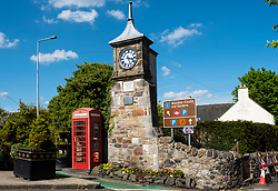 Clocktower in centre of Aberdour village in Fife, Scotland, UK