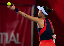 October 12, 2018 - Qiang Wang of China in action during her quarter-final match at the 2018 Prudential Hong Kong Tennis Open WTA International tennis tournament (Credit Image: © AFP7 via ZUMA Wire)
