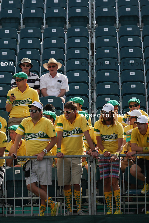 20 November 2011 : Australian 'fanatics' supporters at the closing ceremony during the fifth-round Sunday Final round single ball matches at the Presidents Cup at the Royal Melbourne Golf Club in Melbourne, Australia. .