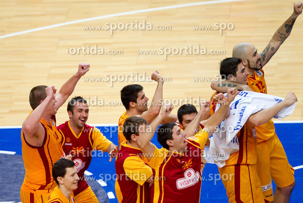 Players of Macedonia celebrate after the basketball game between National basketball teams of F.Y.R. of Macedonia and Slovenia at FIBA Europe Eurobasket Lithuania 2011, on September 10, 2011, in Siemens Arena,  Vilnius, Lithuania. Macedonia defeated Slovenia 68-59. (Photo by Vid Ponikvar / Sportida)