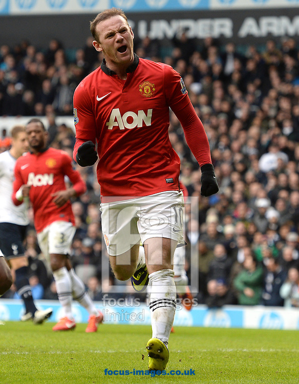 Picture by Andrew Timms/Focus Images Ltd +44 7917 236526<br /> 01/12/2013<br /> Wayne Rooney of Manchester United celebrates scoring their second goal from the penalty spot during the Barclays Premier League match against Tottenham Hotspur at White Hart Lane, London.