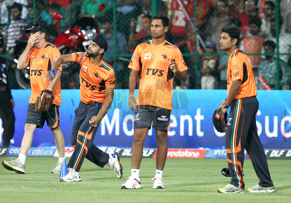 Pune warrior team during warmup session before match 35 of the the Indian Premier League ( IPL ) Season 4 between the Royal Challengers Bangalore and the Pune Warriors held at the Chinnaswamy Stadium, Bangalore, Karnataka, India on the 29th April 2011..Photo by Prashant Bhootl/BCCI/SPORTZPICS.
