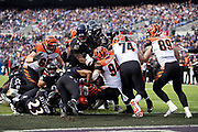 Cincinnati Bengals running back Giovani Bernard (25) runs under a pile of bodies for a first quarter touchdown that ties the score at 7-7 during the NFL week 11 regular season football game against the Baltimore Ravens on Sunday, Nov. 18, 2018 in Baltimore. The Ravens won the game 24-21. (©Paul Anthony Spinelli)