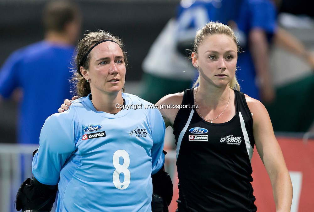 02/07/2015<br /> HWL Semi Final Antwerp Belgium 2015<br /> New Zealand v Korea Women<br /> Sally Rutherford and Anita Punt<br /> Photo: Grant Treeby