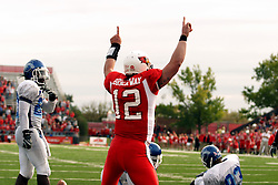 13 October 2007: Reserve quarterback Kevin Brockway scores on a keeper in the 4th quarter.  The Indiana State Sycamores were jacked 69-17 by the Illinois State Redbirds at Hancock Stadium on the campus of Illinois State University in Normal Illinois.